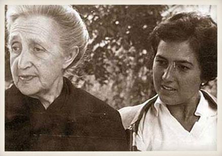 María Setién y Ángeles de Castro, madre y esposa de Miguel Delibes. Año 1956.