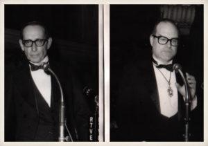 Miguel Delibes y el académico Julián Marías. Real Academia Española, 25 de mayo de 1975.