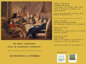 Cartel Ciclo Literatura y bondad. Soledas Puértolas