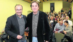 Valladolid, 25/1/2016. Jesus Marchamalo entrevista a Luis Garcia Montero en La Biblioteca Municipal. Foto Ricardo Otazo.