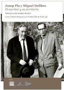 Cartel jornada Josep Pla y Miguel Delibes