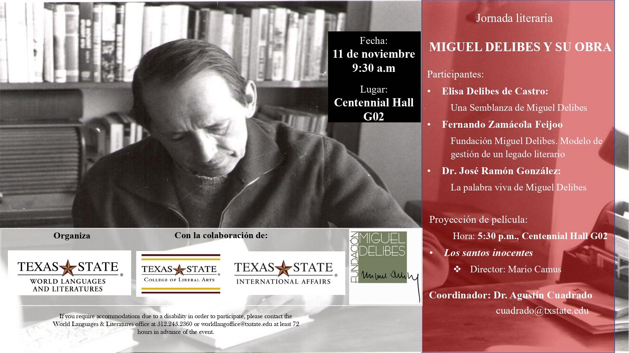 jornadas Miguel Delibes en Texas